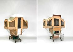 Camper Kart is a Tiny Home That Pops Out of a Shopping Cart. Brilliant idea to house the homeless_ in_laws and guest who over stay their welcome__(that was sarcasm) Green Design, Eco Design, Social Design, Trailer Tent, Portable House, Pop Up Tent, Kart, Fire Pit Backyard, Tiny House Living