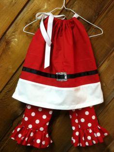 Santa Pillowcase dress and Ruffle Pants set by CarolinasHopeChest, $37.00