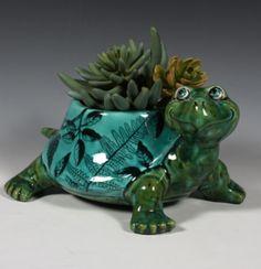Ceramic Turtle Planter. Screen-printing on pottery!