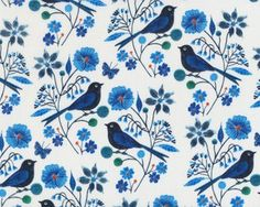 Patchworkstoff Organic Cotton MOODY BLUES, birds on flowers branches, blue off-white