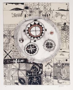 Contemporary Tribal:    John Pule, Niuean artist, Hiapo inspired work. Lithograph