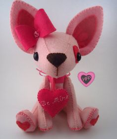 Valentine's Day Dog Chihuahua Stuffed Toy by HeartFeltPlush $50