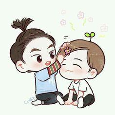 Fanart Xiumin and Baekhyun Chanyeol, Baekhyun Fanart, Kpop Fanart, Kyungsoo, Kpop Drawings, Cute Drawings, Exo Cartoon, Exo Anime, Exo Fan Art