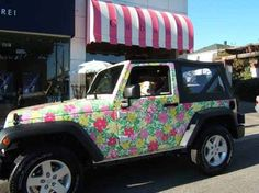Lilly Pulitzer jeep- Always say this riding around in the Hamptons! <3