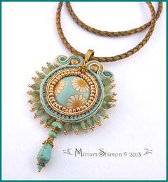 Soutache pendant necklace with Golem design by MiriamShimon, $85.00
