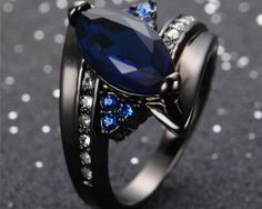 Buy Exquisite Luxury Birthstone Black Gold Filled Jewelry CZ Natural Diamond Blue Sapphire Wedding Engagement Gemstone Ring Size 6 7 8 9 10 at Wish - Shopping Made Fun Blue Sapphire Rings, Blue Rings, Sapphire Gemstone, Blue Zircon, Tanzanite Ring, Black Gold Jewelry, Gold Filled Jewelry, Black Gold Rings, Black Wedding Rings