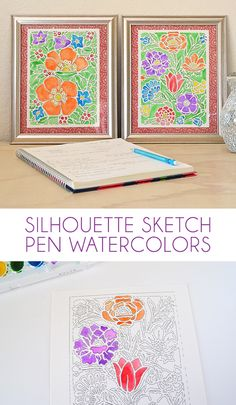 This Silhouette sketch pen tutorial will show you how to make some unique and fun paint watercolors for your home! by Dream a Little Bigger