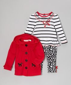 Take a look at this Red Bow Ruffle Jacket Set - Infant by Kids Headquarters on #zulily today!