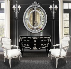 Baroque chest of drawers (commode) of style black Louis XV with silvered bronze…