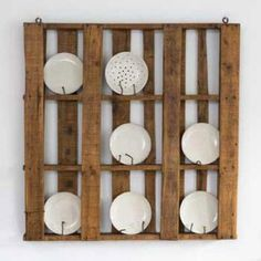 Another pallet repurposing idea - plate rack. Paint the pallet and use colorful plates!!??