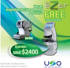 SPECIAL OF THE WEEK !!!   From April 15 - 21  Get a FREE Digital Lensmeter when buying a Autofractor / Keratometer    www.usophthalmic.com  http://usophthalmic.com/ERK-5200-Auto-Ref-Keratometer-ERK-5200  Use Promo Code:WKSPERK_ELMDISC