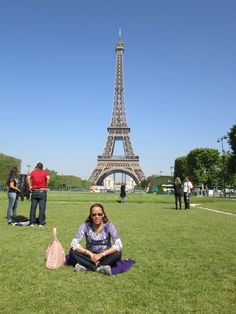 Taking a breather on the lawn of the Eiffel Tower.