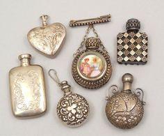 Miniature silver perfume bottles