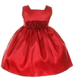 Sweet Kids Baby Girls Slvless Dress Flw Waistband 12M Med Red SK B3047 * Read more reviews of the product by visiting the link on the image.