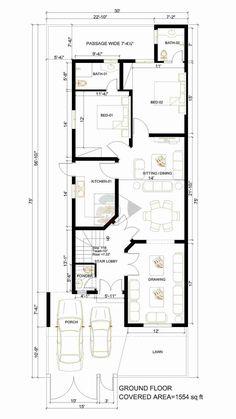 10 Marla House Plan, Simple House Plans, House Floor Design, Modern House Design, Duplex Plans, Smart House, Lay Outs, Building Structure, Home Design Plans