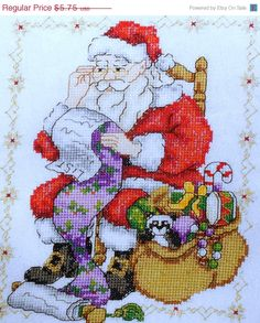 75%OFF Maria Diaz FATHER CHRISTMAS Picture - British Counted Cross Stitch Pattern Chart - Great Britain England