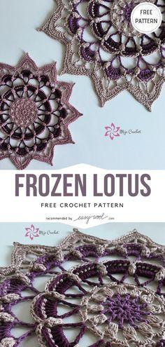 Frozen Lotus Free Crochet Pattern on Easywool.com #crochet #shellstitch #freecrochetPatterns #crochetmandala #crochetstitch #crochetfreepatternsforlady #freecrochetPatternsforblanket #crochetstitch #crochetfreepatternsforhome
