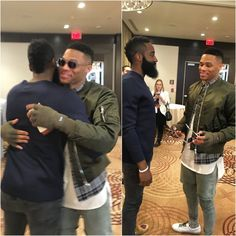 Regulars of the #NBAStyle board Russell Westbrook & James Harden embrace at #NBAAllStarTO
