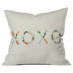 "Bring a charming touch of style to your bed or settee with this lovely pillow featuring a floral typographic motif by artist Allyson Johnson for DENY Designs. Made in the USA.   Product: PillowConstruction Material: PolyesterColor: MultiFeatures:  Insert includedDesigned by Allyson Johnson for DENY DesignsMade in the USA Dimensions: 18"" x 18""Cleaning and Care: Machine wash"