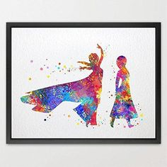Dignovel Studios 8X10 Queen ELSA and ANNA from FROZEN Disney Princess Watercolor Print Wall Poster Girls Room Decor Wall art Hanging Kids ArtBirthday Gift N350 #prints #prntable #painting #canvas #empireprints #teepeat Hanging Kids Art, Hanging Wall Art, Wall Art Decor, Room Decor, Poster Wall, Poster Prints, Princess Wall Art, Frozen Disney, Art Birthday