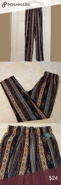 Ambiance Apparel Palazzo Pants NWT! Tribal Pattern. Blue, Brown, Gold and White. Elastic Waist. Ambiance Apparel Pants Wide Leg
