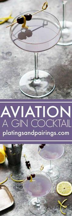 The Aviation Gin Cocktail combines crème de violette, maraschino cherry liqueur & lemon juice for a perfectly sweet & tart delicious cocktail. | platingsandpairings.com