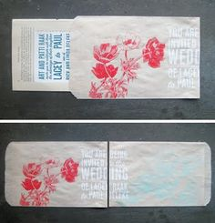 Invite in a bag - love these!  Great idea for favor bags too - can do a simple stamp and looks vintage and unique!
