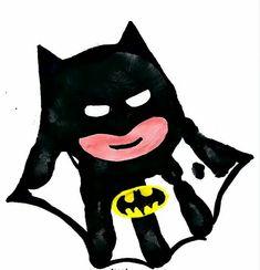 Cute Batman Hand Print Design!!! Bebe'!!! Great idea!!!