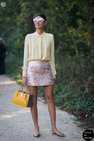 Giovanna Battaglia of Vogue Japan after Louis Vuitton fashion show. Shop this look (or similar) here: Blouse: ISABEL MARANT Reese voile top Skirt: MIU MIU Embellished metallic jacquard mini skirt // ROCHAS Swan pleated metallic brocade skirt Shoes: JIMMY CHOO Genoa snake-effect leather point-toe