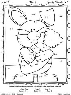 "math Spring: ""Sum"" Spring Showers: Spring Math Printables ~ Color By The Code Puzzles To Practice Basic Addition Facts ~This Color By Number Unit Is Aligned To The CCSS. Each Page Has The Specif 1st Grade Math, Kindergarten Math, Teaching Math, Math Math, Kids Math Worksheets, Maths Puzzles, Easter Worksheets, Number Worksheets, Easter Activities"