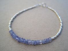 Tanzanite bracelet with Hill Tribe Silver beads by KSoleauDesigns