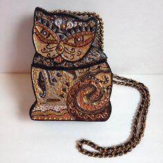 Vintage Mary Frances Cat Purse With Chain - Shoulder Handbag - Decorative Box #MaryFrances #EveningBag