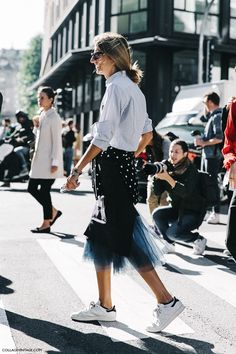 Street Style_ striped shirt worn back with tulle layered skirt & casual sneakers || Saved by Gabby Fincham ||