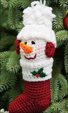 Ravelry: Snowman Stocking Ornament pattern by Sandy Abbate.