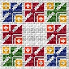 Colorful Life pattern A colorful geometric cross stitch pattern.Suitable for biscornu making,borders,frames,covers and other projects. 123 Cross Stitch, Cross Stitch Bookmarks, Cross Stitch Borders, Cross Stitch Designs, Cross Stitching, Hand Embroidery Videos, Folk Embroidery, Cross Stitch Embroidery, Embroidery Patterns