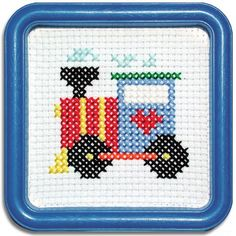 ENGINE THAT COULD This counted-cross stitch kit includes Aida cloth and a Blue Square Hoop-Frame for Stitching and Framing -- Cross Stitch For Kids, Mini Cross Stitch, Simple Cross Stitch, Cross Stitch Cards, Counted Cross Stitch Kits, Cross Stitching, Cross Stitch Embroidery, Cross Stitch Train, Embroidery Patterns