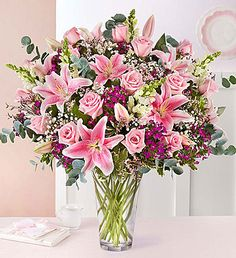Full of Love Pink Flower Bouquet Valentine Flower Arrangements, Spring Flower Arrangements, Beautiful Flower Arrangements, Floral Arrangements, 800 Flowers, Types Of Flowers, Pink Flowers, Beautiful Flowers, Pink Roses
