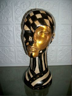 Custom Orders Only** Harlequin Checker Board Erotic Table Top Mannequin Head Black/White/Gold Distressed Cirque Inspired on Etsy Futuristic Makeup, Styrofoam Head, Wig Stand, Art Costume, Found Object Art, Mannequin Heads, Hat Stands, Black White Gold, Sculpture Art