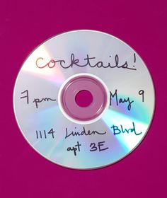 CD as Invitation Make jazzy (or rockin') invitations. Jot down party details on the shiny side and mail the CD out in a cushioned envelope (postage: about a dollar). I Party, Party Time, Party Ideas, Diy Ideas, Deco Dyi, Party Like Its 1999, Little Presents, New Uses, Party Entertainment