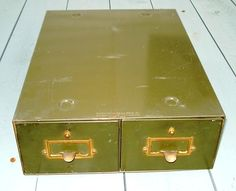 I have one of these in storage somewhere that I got for almost nothing! OH MY!  Vintage 2 Drawer Industrial Card File Cabinet Yawman and Erbe   eBay $34.95 w/ a day left to go!