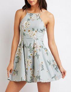 Floral Bib Neck Skater Dress - Charlotte Russe