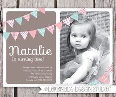 Impressive Second Birthday Invitation with Personalized Photo Lemonade Design Studio.