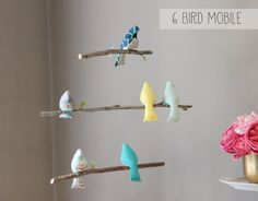 Custom Bird Mobile  Choose your colors  Baby Crib Mobile