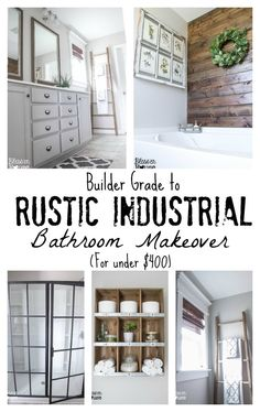 DIY:: Beautiful Budget Rustic Industrial Farmhouse Styled Bathroom Makeover ! So many Great Ideas And Tutorials !