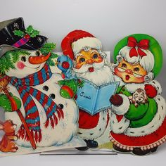 Vintage Cardboard Christmas Decorations Santa Mrs Claus Snowman Lot 2