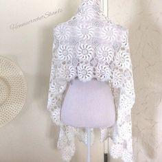 Crochet Flower Scarf, Lace Scarf, Crochet Lace, Crochet Shrugs, Crochet Sweaters, Bridal Shawl, Bridal Lace, Wedding Shawl, Crochet Wedding