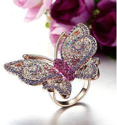 Fully-jewelled Colorful Fairy Butterfly Ring for Women Rings Diy Jewelry Gifts, Cute Jewelry, Jewelry Accessories, Jewelry Design, Butterfly Ring, Butterfly Jewelry, Butterfly Shape, Bling Bling, Fashion Rings