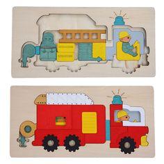 Niños Educación Temprana Juguetes Rompecabezas de Múltiples Capas de Madera Del Rompecabezas 3D de Dibujos Animados Historia Rompecabezas Camión de Extinción de Incendios Para El Regalo de Los Niños