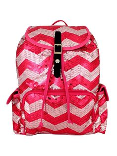 c657a2811a Hot Pink Chevron Sequin Diva Princess Backpack by TheTurtleTrain