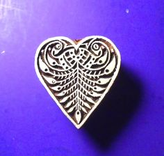Heart Shape Hand Carved Wood Stamp Indian Printing Block by PrintBlockStamps on Etsy